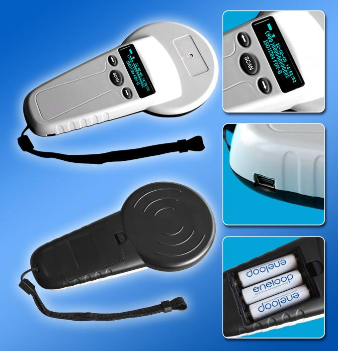 High Frequency USB Animal Tag Reader Handheld With 3 AA Power Supply